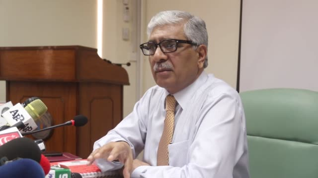 Press conference of Pakistani Chief Census Commissioner Asif Bajwa at Pakistan Bureau of Statistics in Islamabad on September 11 in which he...