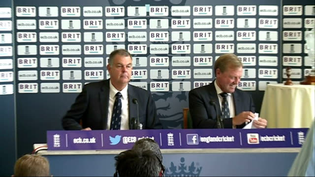 Press conference to announce England squad for Ashes tour of Australia ENGLAND London Lord's Cricket Ground INT People arriving at press conference /...