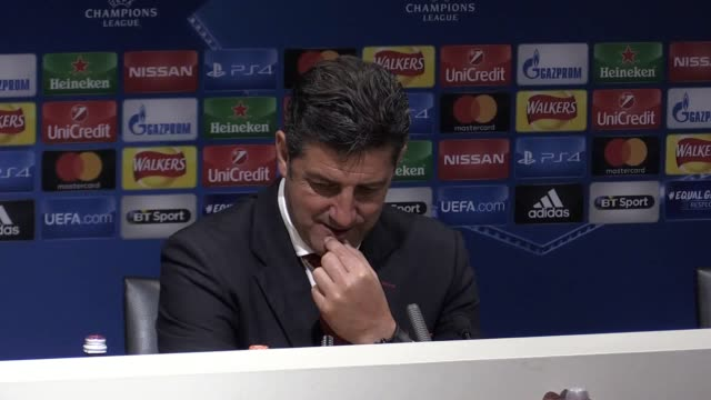 Press conference with Benfica manager Rui Vitoria following the 20 defeat to Manchester United at Old Trafford