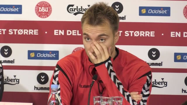 Press conference with Denmark goalkeeper Kasper Schmeichel coach Åge Hareide and forward Christian Eriksen ahead of the World Cup 2108 qualifier...