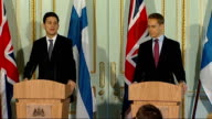 Press conference with Foreign Secretary and Finnish Foreign Minister ENGLAND London Foreign Office INT David Miliband MP and Alexander Stubb into...