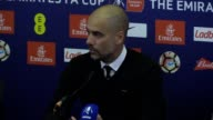Press conference with Manchester City Manager Pep Guardiola after the defeat against Arsenal in the FA Cup semifinal at Wembley