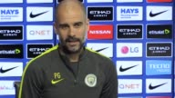 Press conference with Manchester City manager Pep Guardiola ahead of the game against Stoke City He talks about whether a win against Stoke would...