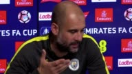 Press Conference with Manchester City manager Pep Guardiola ahead of the FA Cup match against Arsenal