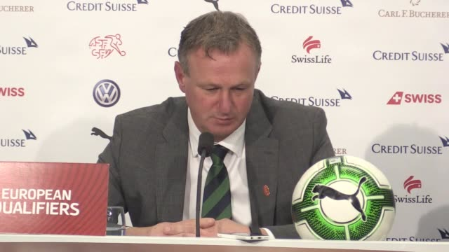 Press conference with Northern Ireland manager Michael O'Neill following their 00 draw with Switzerland which saw them lose 10 on aggregate and miss...