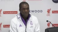 Press conference with Real Madrid Legends players Figo and Clarence Seedorf and coach Leo Beenhakker They talk about playing at Anfield the game...
