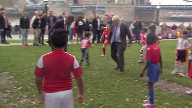 Press event as part of the London Health's Commission to make London a healthier place Shows Boris Johnson kicking off football match with young...