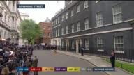 SPECIAL 1230 1330 Press waiting outside Number Ten Various of lectern outside No 10 Man setting up podium **Lewington STUDIO interview partly...