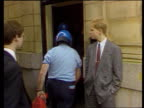 Preston bank raid Lancaster Preston Nat West Bank MS Customers queuing outside bank PULL OUT policeman standing next entrance MS Security men...