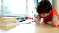 Pre-teen boy studying hard as he writes in notebook