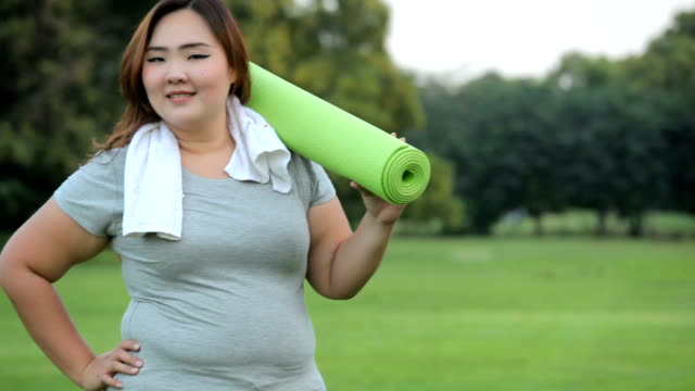 Pretty fat woman going to work out