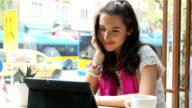 Pretty girl making video chat