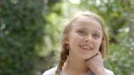 CU pretty girl smiling outdoors / Westlake Village, California, United States