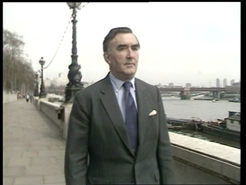 Prevention of terrorism act R 18488 ITN London Westminster CMS Michael Mates MP towards along Embankment TRACK