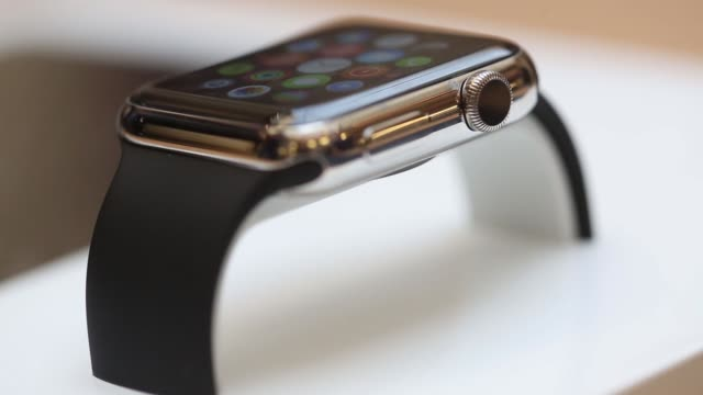 Preview event at Apple Inc's Covent Garden store in London UK on Friday April 10 2015 SHOTS Apple Watch stands on display customers browse and test...