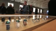 Preview event inside the Apple Inc store in Berlin Germany on Friday April 10 2015 SHOTS Apple Watch stands on display customers browse and test...