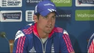 Preview of England New Zealand First Test Match at Lords Press conferences Cook and interim England Coach Paul Farbrace enter room Alastair Cook...