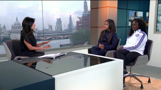 Preview of Women's FA Cup Final ENGLAND London GIR INT Alex Scott and Eniola Aluko LIVE STUDIO interview SOT