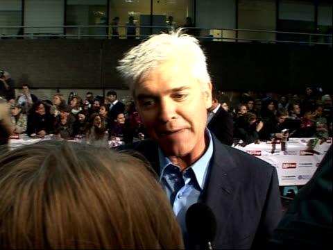 Arrivals and interviews Philip Schofield speaking to press SOT