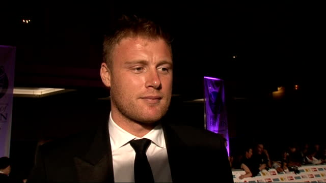 red carpet arrivals and interviews Andrew Flintoff and wife Rachael Flintoff along / Roberts away / Flintoff signing autographs Andrew Flintoff...