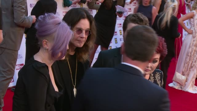 Celebrity arrivals and interviews More Collabro interview SOT / Kelly Osbourne father Ozzy Osbourne Sharon Osbourne and son Jack Osbourne as...