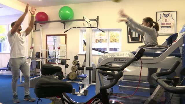 Finalist Lisa Green ENGLAND INT Various shots of young woman Annabel training on antigravity treadmill during physiotherapy session/ Nicola Smith...