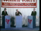 Primary debate sponsored by the League of Woman voters between Ronald Reagan and George W H Bush moderated by Howard K Smith / Bush and Reagan answer...