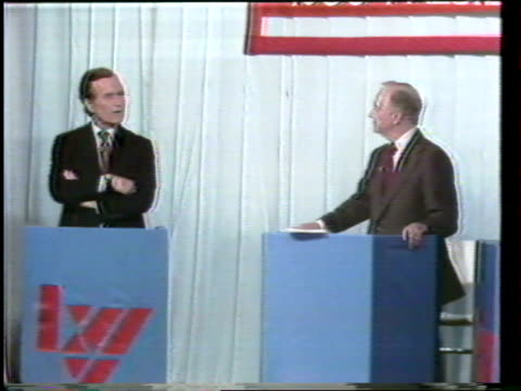 Primary debate sponsored by the League of Woman voters between Ronald Reagan and George W H Bush moderated by Howard K Smith / Reagan and Bush...
