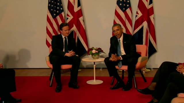 Prime Minister David Cameron and Barack Obama at photo op and Barack Obama speaking about importance of working together G7 member states continue...