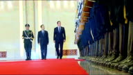 Prime Minister David Cameron joins British trade delegation visit meeting with Chinese Premier Wen Jiabao CHINA Beijing Tiananmen Square Great Hall...