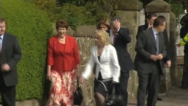 Prime Minister Gordon Brown and wife Sarah arrive at church on first weekend after the UK general election resulted in a hung parliament Scotland UK...