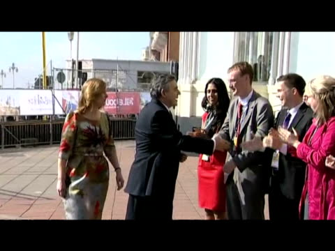 Prime Minister Gordon Brown and wife Sarah Brown are greeted by delegates ahead of Labour Party annual conference 29 September 2009