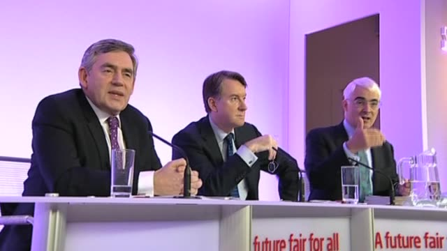 Prime Minister Gordon Brown Chancellor Alistair Darling and Secretary of State for business Peter Mandelson at news conference London 8 April 2010