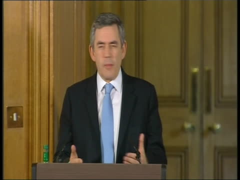 Prime Minister Gordon Brown gives press conference describing uncertainty created by credit crunch