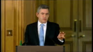 Prime Minister Gordon Brown holds monthly press conference Question Talks of statement by the Governor of the Bank of England that government ignored...