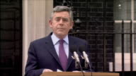 Prime minister Gordon Brown intention to resign press statement ENGLAND London Downing Street EXT Gordon Brown out to podium and 'intention to...