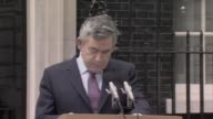 Prime Minister Gordon Brown makes his first speech outside No 10 Downing Street after the UK general election resulted in a hung parliament London UK...