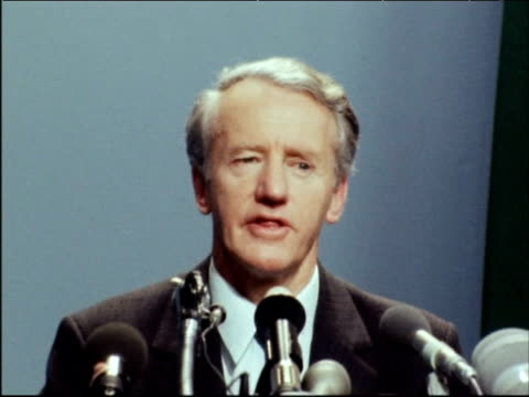 Prime Minister Ian Smith emphasises his stance on 'Black majority rule' during press conference 1970s