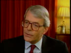 Prime Minister John Major interview ENGLAND London Downing St No 10 John Major MP intvwd SOT large part of borrowing requirement will disappear as we...