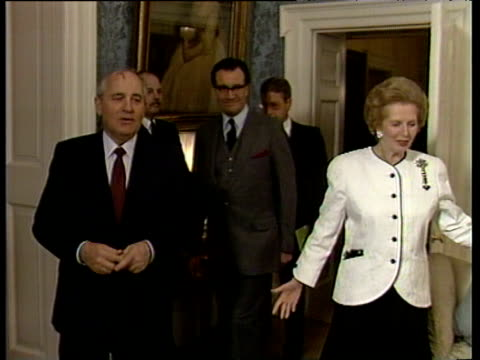 Prime Minister Margaret Thatcher and President Mikhail Gorbachev inside 10 Downing Street are joined by partners Raisa Gorbachev and Denis Thatcher...