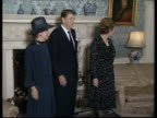 Prime Minister Margaret Thatcher arranges President Ronald Reagan Nancy and Dennis for photo call inside 10 Downing Street 06 Jun 82