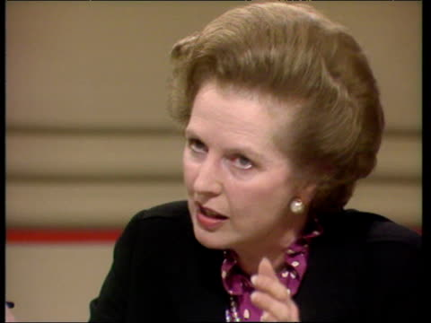 Prime Minister Margaret Thatcher defends her order to sink Argentine ship ARA General Belgrano during Falklands conflict during questioning by member...