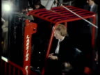 Prime Minister Margaret Thatcher manoeuvres fork lift truck on visit to factory UK 18 Apr 80