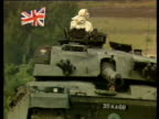 Prime Minister Margaret Thatcher riding in Challenger tank during military manoeuvres at British Army base Fallingbostel 17 Sep 86