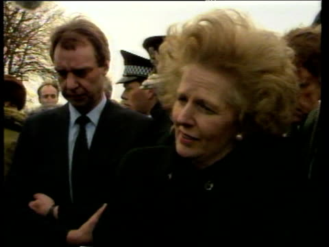 Prime Minister Margaret Thatcher talks to press and tours site of Lockerbie Air Disaster on 22 Dec 1988