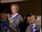 Prime Minister Margaret Thatcher tells party workers at Conservative Party HQ