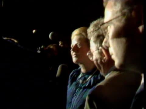 Prime Minister Margaret Thatcher tells press she