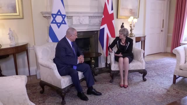 Prime Minister of Israel Benjamin Netanyahu is greeted by Theresa May at Downing Street to prepare to celebrate the centenary of the Balfour...