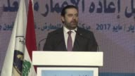 BEIRUT LEBANON MAY 12 Prime Minister of Lebanon Saad Hariri delivers a speech during the financing meeting to reconstruct Syria Iraq Yemen and Libya...