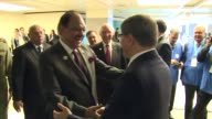 Prime Minister of Turkey Ahmet Davutoglu meets President of Pakistan Mamnoon Hussain during the 13th Organization of Islamic Cooperation Summit in...
